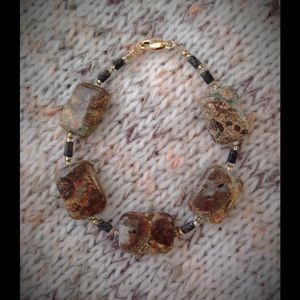 "7 1/2"" genuine Leopard Jasper bracelet"